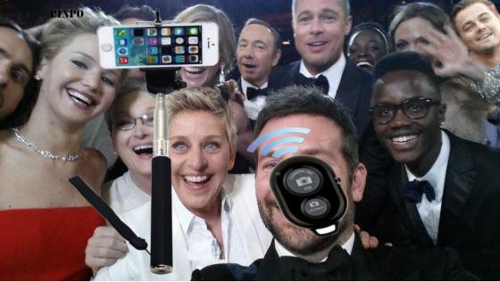 Palo para hacer selfies perfectos como el de los oscars, para iPhone o Android, con control remoto bluetooth para la cámara