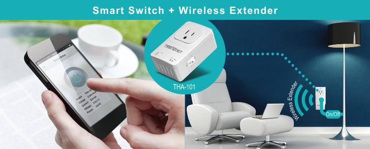 Enchufe wifi inteligente más amplificador de señal, todo en uno, con el TRENDnet Home Smart Switch THA-101