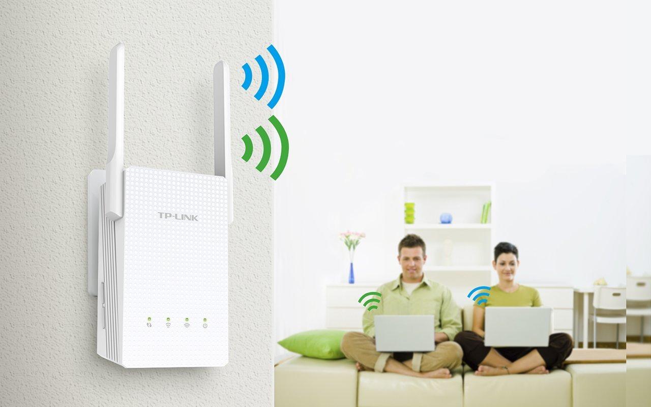 Amplificador wifi AC TP-Link RE210, con antenas externas, banda dual, extender la red en casa y oficina