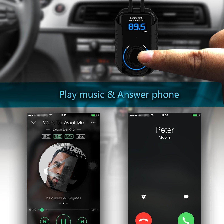 Transmisor fm para coche, por bluetooth o cable de audio, barato, escuchar el móvil por los altavoces de la radio