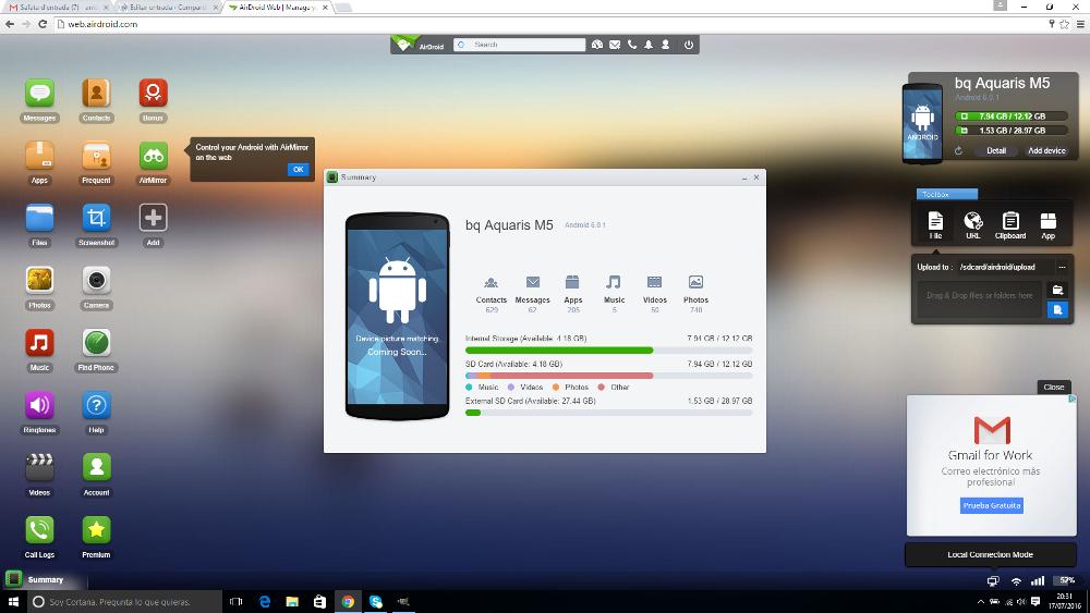 Conectar movil a PC por wifi o 3G/4G, guia fácil y tutorial, en unos pocos pasos usando la app AirDroid para Android